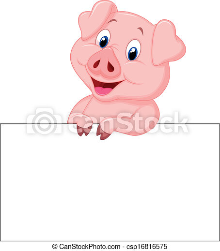 Cute pig cartoon holding blank sign - csp16816575