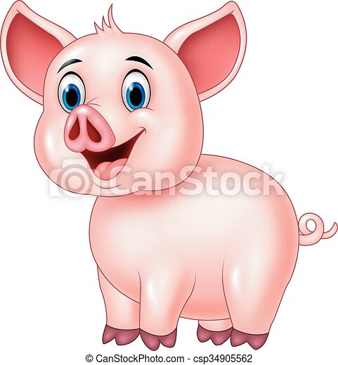 Cute pig posing isolated  - csp34905562