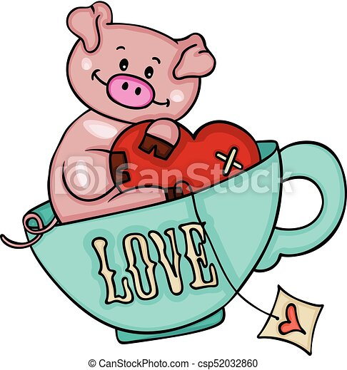 scalable vectorial image representing a cute pig with heart clip rh canstockphoto com cute i love you clipart cute love birds clipart