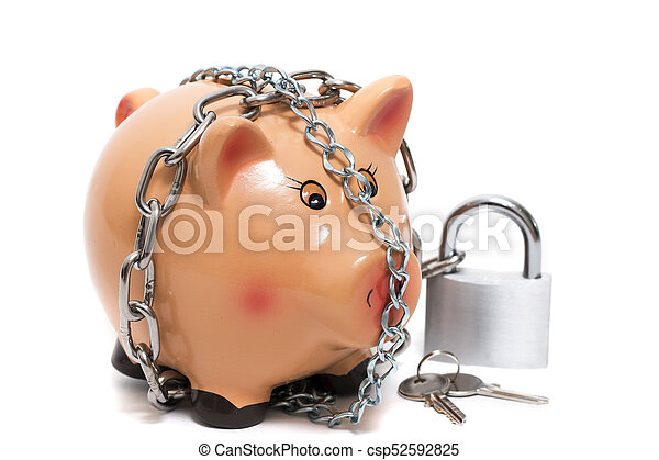 Cute piggy bank with lock - csp52592825