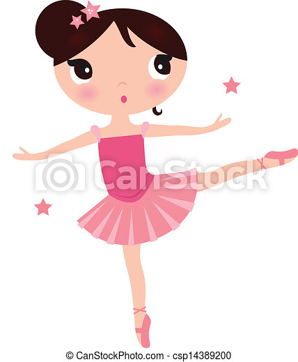 Cute Pink ballerina girl isolated on white - csp14389200