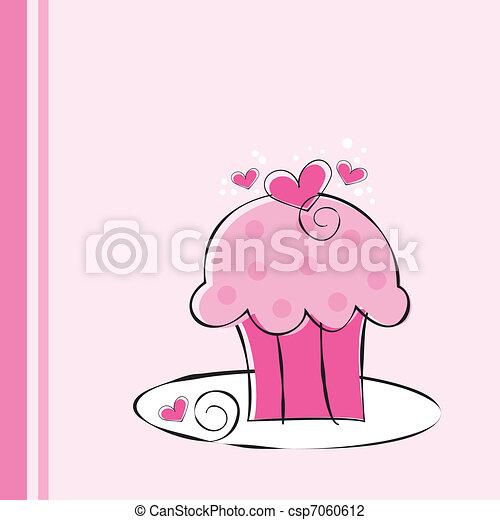 Cute Pink Cupcake - csp7060612