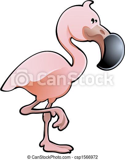Cute Pink Flamingo Vector Illustration - csp1566972
