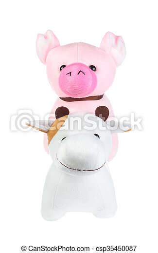 cute pink pig and cow doll isolated on white background - csp35450087