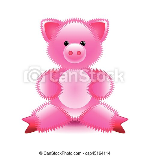 cute pink pig soft toy isolated on white vector illustration