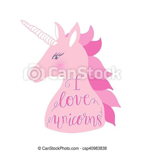 Cute pink unicorn with inscription i love unicorns vector cute pink unicorn with inscription i love unicorns vector illustration for greeting cards kids m4hsunfo