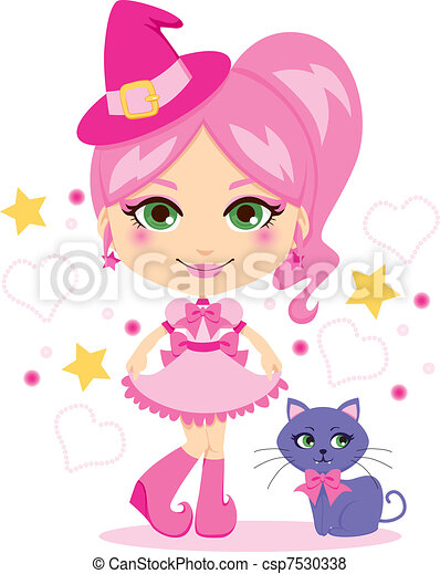 Cute Pink Witch - csp7530338