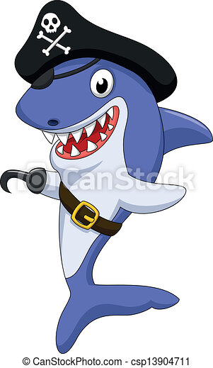 Cute pirate shark cartoon - csp13904711