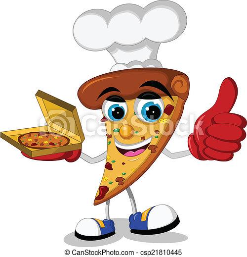 cute pizza cartoon thumb up - csp21810445