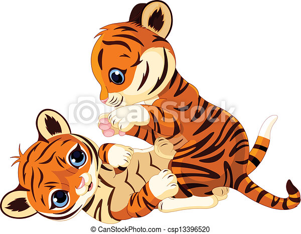 Cute playful tiger cub - csp13396520
