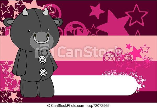 cute plush bull toy kawaii style cartoons background - csp72072965