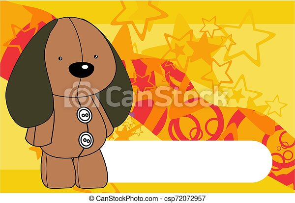 cute plush dog toy kawaii style cartoons background - csp72072957