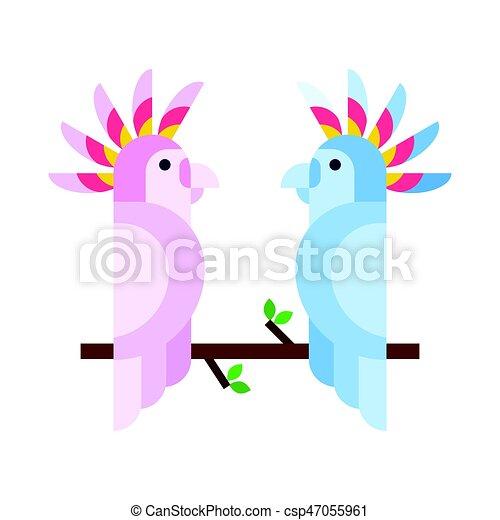 cute, poleiro, cor, trópicos, vívido, jardim zoológico, tropicais, animal, pena, pássaro, bonito, natureza, par, ilustração, caricatura, mosca, fauna, papagaio, macaw., vetorial, selva, selvagem - csp47055961