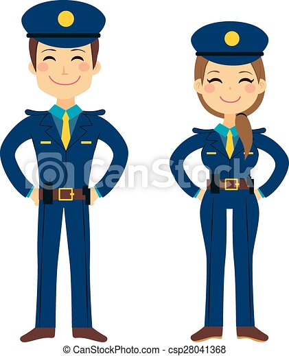 cute police agents cute police man and woman agents working clip rh canstockphoto com police clipart black and white police clipart black and white