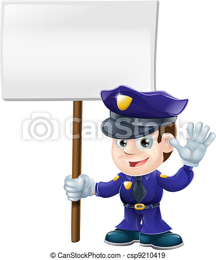 Cute police man with sign illustrat - csp9210419