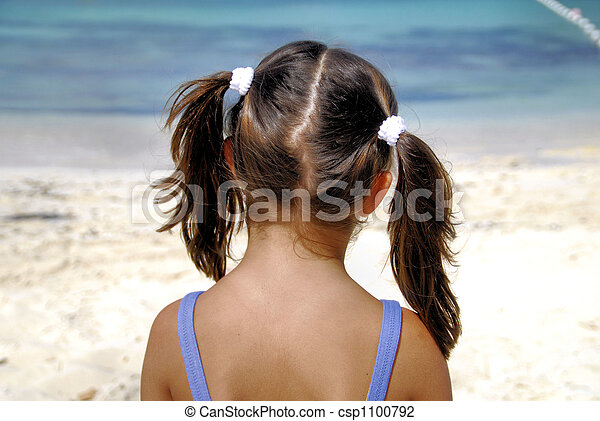 Cute Ponytails Young Girls With Back Of Head Done In