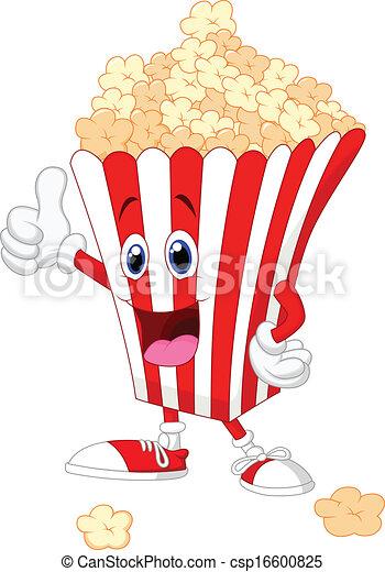 Cute popcorn cartoon with thumb up  - csp16600825