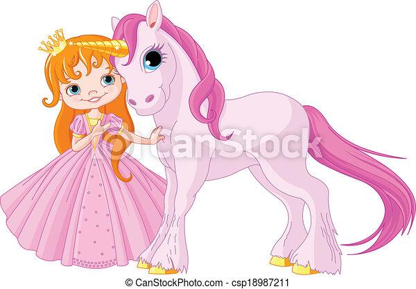 Cute Princess and Unicorn - csp18987211