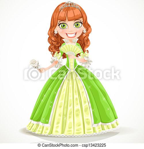 Cute princess in a green dress - csp13423225