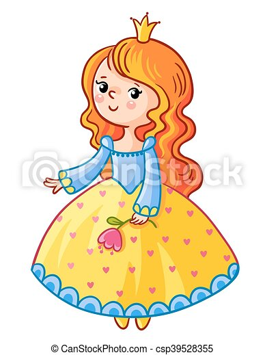 Cute Princess stand on a white background. - csp39528355