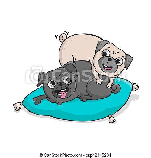 Cute pugs. Vector hand drawn cartoon illustration. - csp42115204