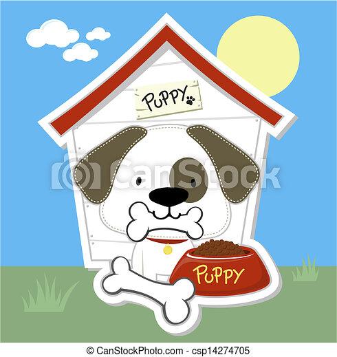 cute puppy and dog house cartoon - csp14274705