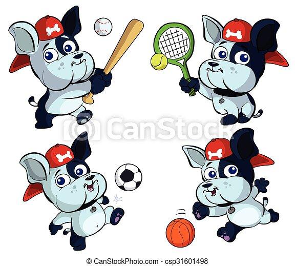 cute puppy bulldog sports set - csp31601498