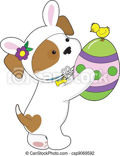 Cute Puppy Easter Egg - csp9069592