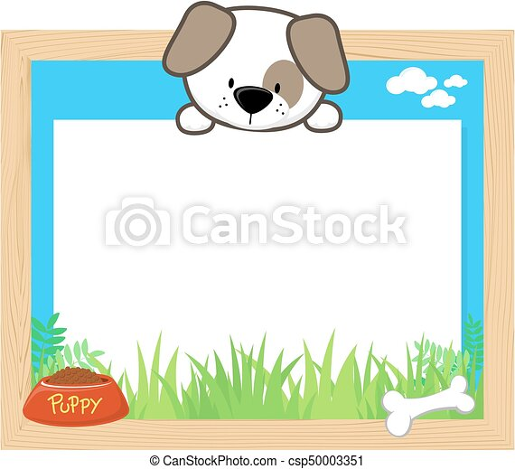 Cute puppy frame. Wood frame with cute puppy and blank board for ...