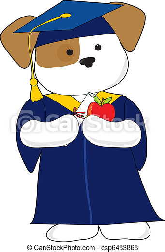 Cute Puppy Graduation A Cute Puppy Is Dessin In A Cap And Gown