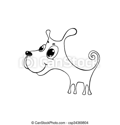 cute puppy with big eyes contour ink drawing vector illustration