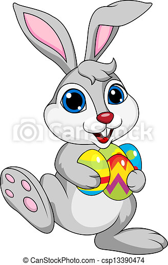 Cute rabbit with ester egg  - csp13390474