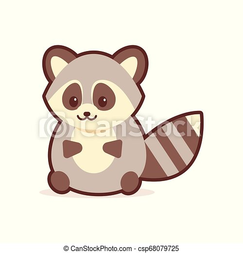cute raccoon cartoon comic character with smiling face happy emoji anime kawaii style funny animals for kids concept - csp68079725