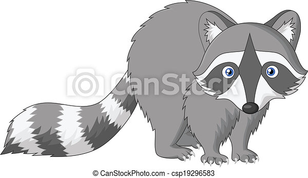 vector illustration of cute raccoon cartoon