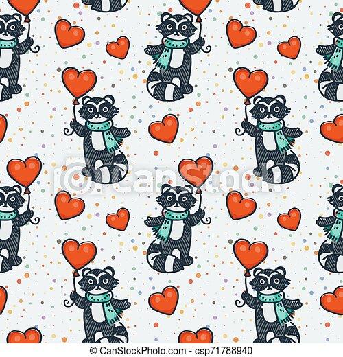 Cute raccoon with balloon. Cartoon hand drawn vector illustration - csp71788940