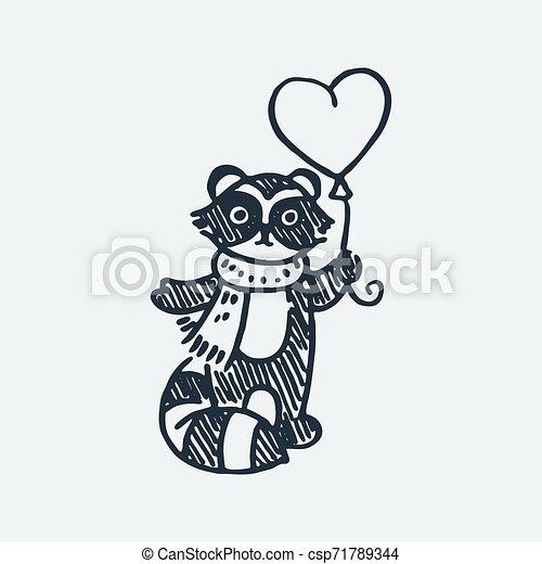 Cute raccoon with balloon. Cartoon hand drawn vector illustration - csp71789344