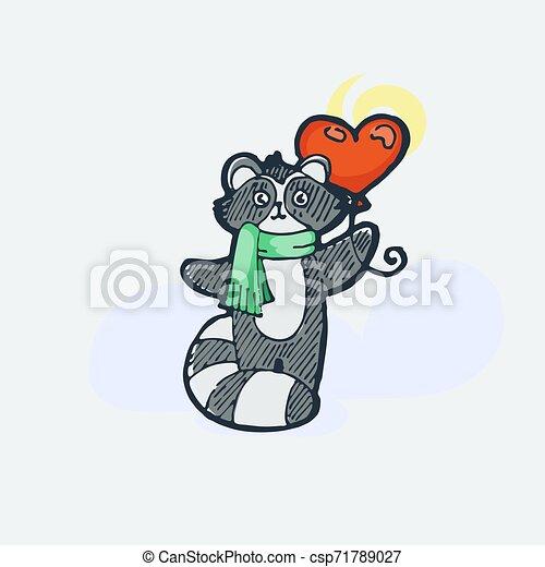 Cute raccoon with balloon. Cartoon hand drawn vector illustration - csp71789027