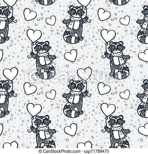Cute raccoon with balloon. Cartoon hand drawn vector illustration - csp71789470