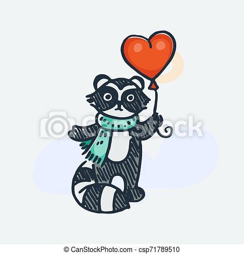 Cute raccoon with balloon. Cartoon hand drawn vector illustration - csp71789510