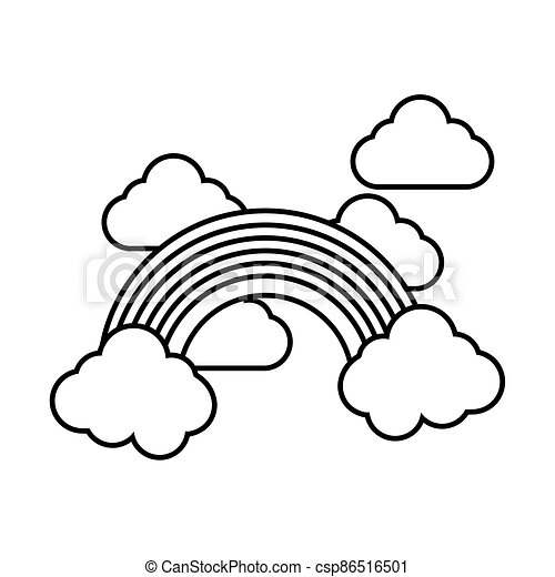 cute rainbow and clouds weather line style - csp86516501