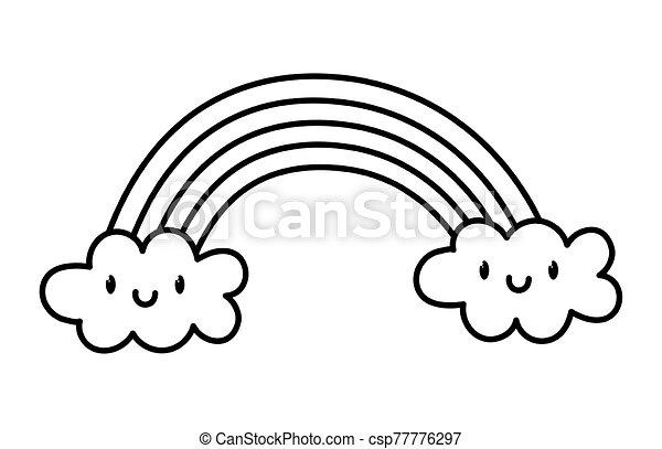 cute rainbow clouds kawaii fantasy cartoon character thick line - csp77776297