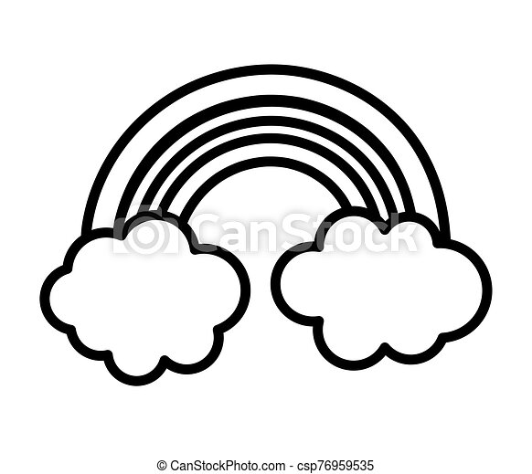 cute rainbow clouds sky fantasy icon thick line - csp76959535