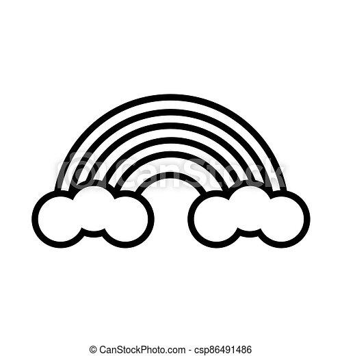 cute rainbow pop art line style - csp86491486