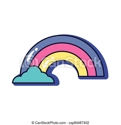 cute rainbow slang line and fill style icon - csp84487402