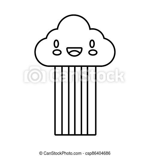 cute rainbow weather with cloud kawaii line style icon - csp86404686