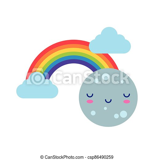 cute rainbow with clouds and moon kawaii flat style icon - csp86490259