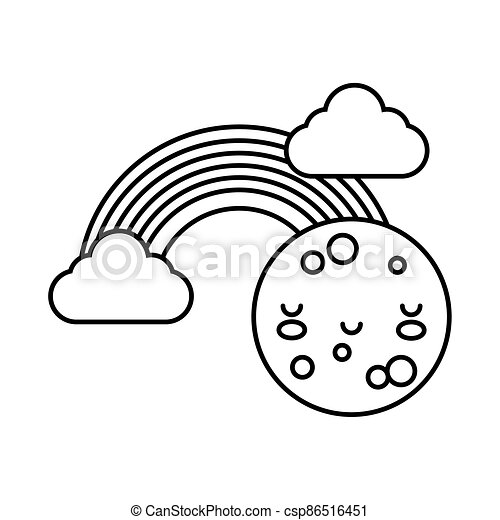 cute rainbow with clouds and moon kawaii line style icon - csp86516451