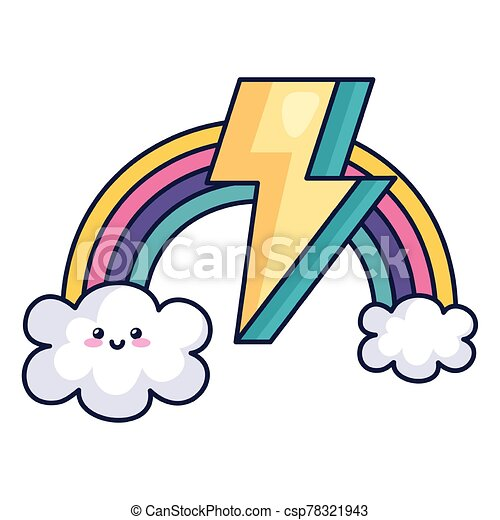 cute rainbow with clouds and thunderbolt kawaii style - csp78321943