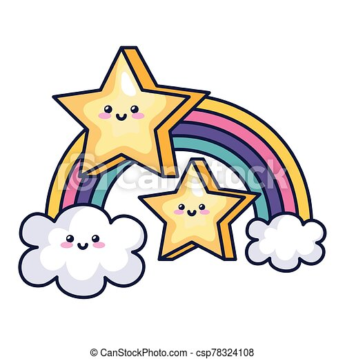 cute rainbow with clouds ans stars kawaii style - csp78324108