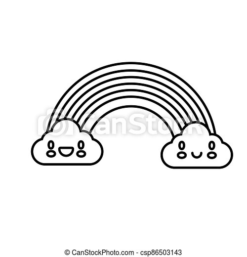 cute rainbow with clouds kawaii characters line style icon - csp86503143